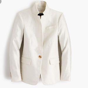 J.Crew Regent Blazer White Metallic Linen Blazer